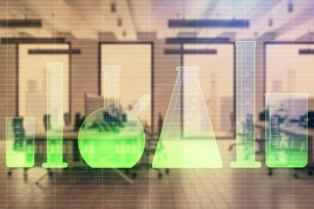 Flasks hologram with office interior on background. Double exposure. Concept of education