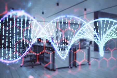 DNA drawing with office interior on background. Double exposure. Concept of education