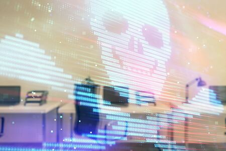 Hacking theme hologram with office interior on background. Double exposure. Concept of cyber piracy Stock fotó