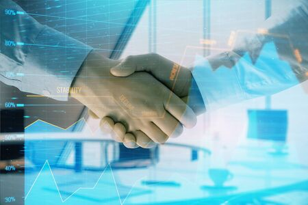 Multi exposure of financial graph on office background with two businessmen handshake. Concept of success in business Фото со стока