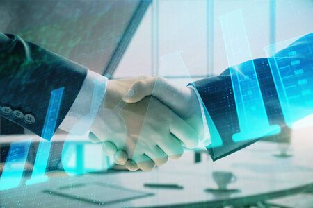 Multi exposure of flasks icon hologram on office background with two men handshake. Concept of education