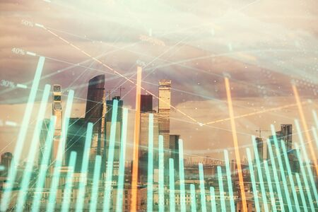 Double exposure of financial graph on downtown veiw background. Concept of stock market research and analysis Stock Photo - 129861008
