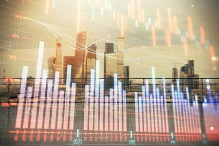 Forex graph hologram with city view from roof background. Double exposure. Financial analysis concept. Stok Fotoğraf