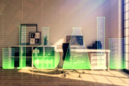Flask hologram with minimalistic cabinet interior background. Double exposure. Study concept.