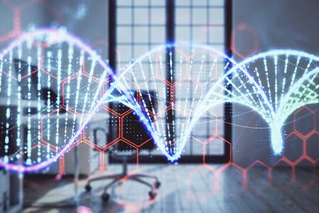 DNA hologram with minimalistic cabinet interior background. Double exposure. Education concept.