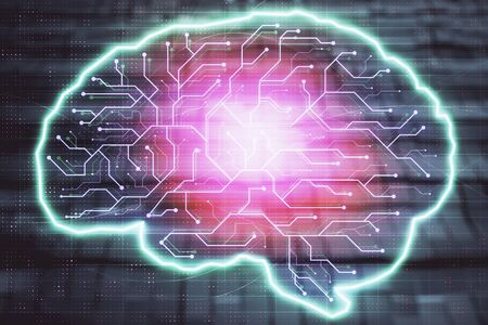 Brain drawing hologram with abstract background. Multi exposure. Data technology concept. Stock Photo