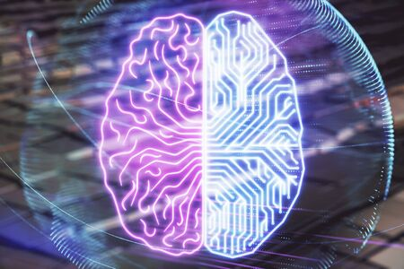 Brain drawing hologram with abstract background. Multi exposure. Data technology concept. Stock fotó