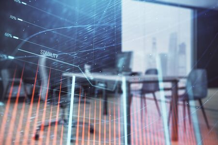 Business theme graph hologram with minimalistic cabinet interior background. Double exposure. Stock market concept. Фото со стока