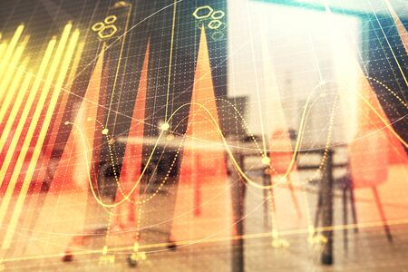 Business theme graph hologram with minimalistic cabinet interior background. Double exposure. Stock market concept. Stock Photo