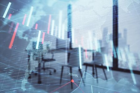 Forex chart hologram with map and minimalistic cabinet interior background. Double exposure. International business concept. Stock Photo