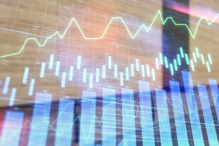 Double exposure of stock market graph on empty exterior background. Concept of analysis 版權商用圖片 - 129864303