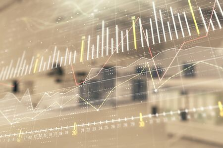 Stock market chart with trading desk bank office interior on background. Double exposure. Concept of financial analysis Stock Photo