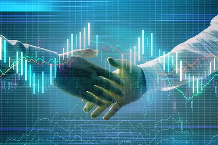 Multi exposure of forex graph on abstract background with two businessmen handshake. Concept of success on stock market 版權商用圖片 - 129863978