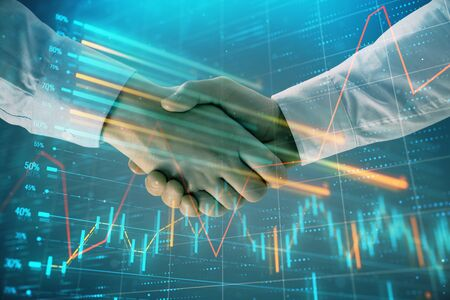 Multi exposure of forex graph on abstract background with two businessmen handshake. Concept of success on stock market 版權商用圖片 - 129863982