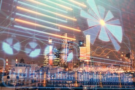 Double exposure of business drawing hologram on cityscape background. Stock Photo - 129864384