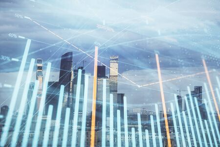 Double exposure of financial graph on downtown veiw background. Concept of stock market research and analysis Stock Photo - 129864386
