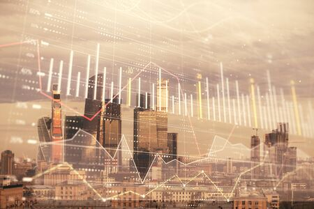 Double exposure of financial graph on downtown veiw background. Concept of stock market research and analysis Stock Photo - 129864389