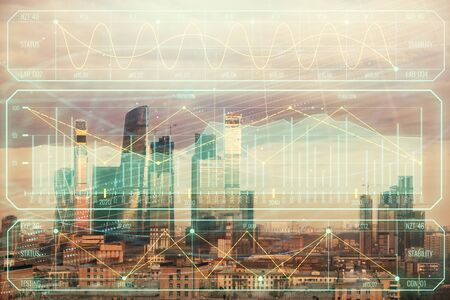 Double exposure of financial graph on downtown veiw background. Concept of stock market research and analysis Stock Photo - 129864393