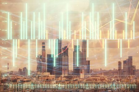 Double exposure of financial graph on downtown veiw background. Concept of stock market research and analysis 版權商用圖片 - 129864398