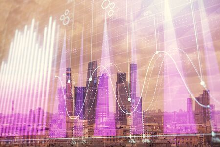 Double exposure of financial graph on downtown veiw background. Concept of stock market research and analysis 版權商用圖片 - 129864399