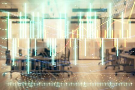 Stock market chart with trading desk bank office interior on background. Double exposure. Concept of financial analysis Фото со стока