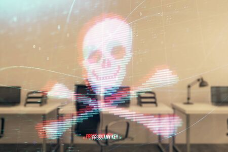 Hacking theme hologram with office interior on background. Double exposure. Concept of cyber piracy 写真素材