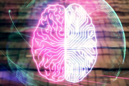 Brain drawing hologram with abstract background. Multi exposure. Data technology concept. 写真素材