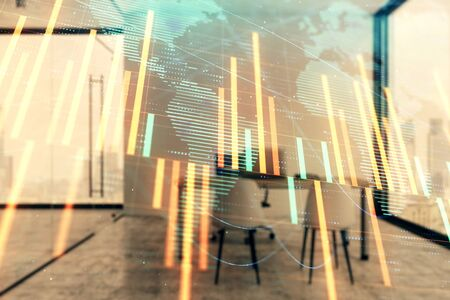 Forex chart hologram with map and minimalistic cabinet interior background. Double exposure. International business concept. 版權商用圖片 - 129864121