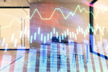 Forex chart hologram with minimalistic cabinet interior background. Double exposure. Stock market concept. 版權商用圖片