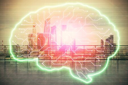 Brain chain theme hologram with city view from roof top background. Double exposure. Big data concept.