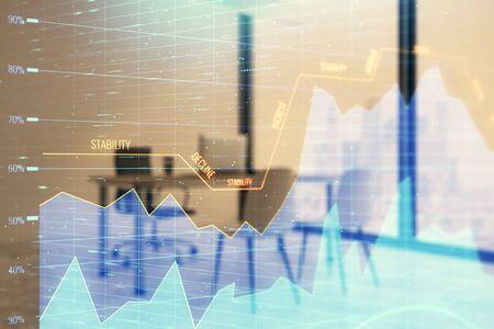 Forex chart hologram with minimalistic cabinet interior background. Double exposure. Stock market concept. 版權商用圖片 - 129864240