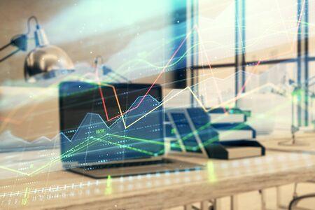 Stock market chart and desktop office computer background. Multi exposure. Concept of financial analysis. 版權商用圖片 - 129864459