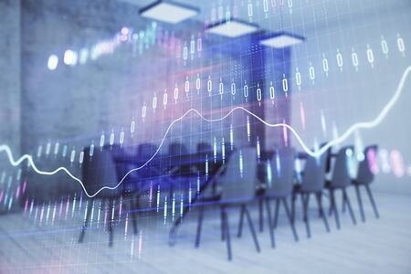 Multi exposure of stock market graph on conference room background. Concept of financial analysis 版權商用圖片 - 129864466