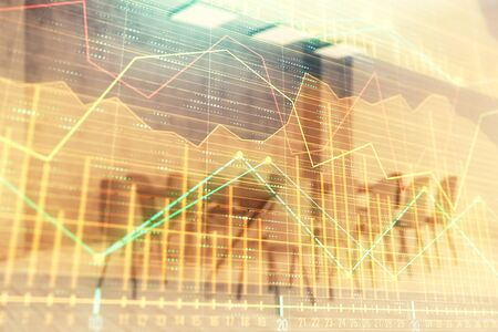 Multi exposure of stock market graph on conference room background. Concept of financial analysis 版權商用圖片 - 129864467