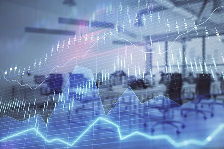 Stock and bond market graph with trading desk bank office interior on background. Multi exposure. Concept of financial analysis 版權商用圖片 - 129864483