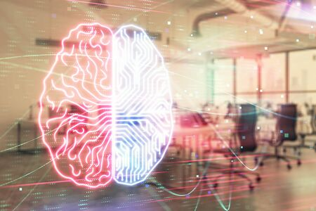 Human brain drawing with office interior on background. Double exposure. Concept of innovation. Zdjęcie Seryjne
