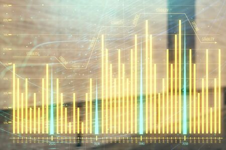 Double exposure of stock market graph on empty exterior background. Concept of analysis Stok Fotoğraf - 129831849