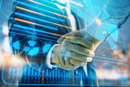Double exposure of business theme drawing on cityscape background with handshake. Concept of partnership Фото со стока - 129831565