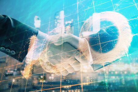 Double exposure of crypto economy theme drawing on cityscape background with handshake. Concept of partnership and blockchain Stok Fotoğraf