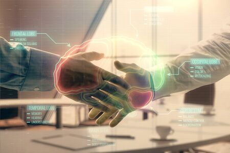 Multi exposure of brain icon hologram on office background with two men handshake. Concept of education
