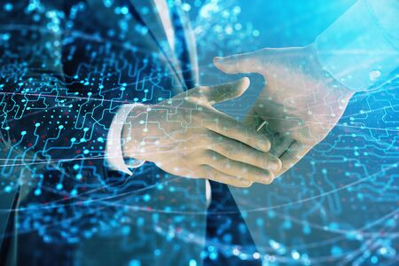 Double exposure of tech drawing on abstract background with two men handshake. Concept of technology in modern business Фото со стока