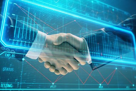 Multi exposure of business graph on abstract background with two men handshake. Concept of success Фото со стока - 129831583