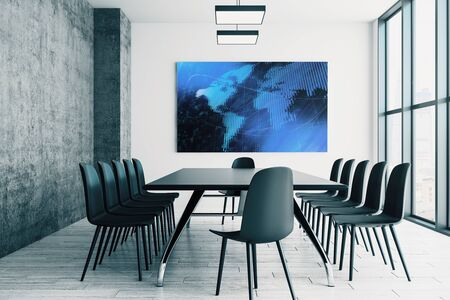 Conference room interior with world map on screen monitor on the wall. International market concept. 3d rendering. Stock Photo