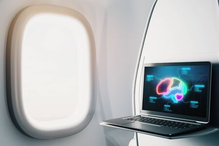 Laptop closeup inside airplane with human brain drawing on screen. Online education concept. 3d rendering.