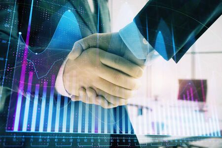 Multi exposure of financial graph on office background with two businessmen handshake. Concept of success in business Stock fotó