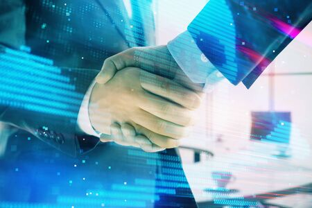 Double exposure of hacking theme hologram on office background with two men handshake. Concept of data security