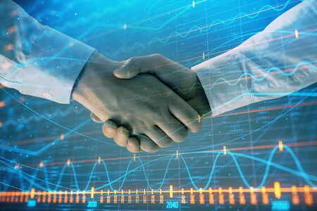 Multi exposure of forex graph on abstract background with two businessmen handshake. Concept of success on stock market Stok Fotoğraf - 129831664