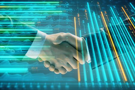 Multi exposure of forex graph on abstract background with two businessmen handshake. Concept of success on stock market Stok Fotoğraf - 129831666