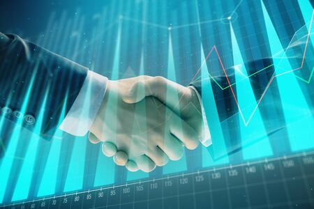 Multi exposure of forex graph on abstract background with two businessmen handshake. Concept of success on stock market Stok Fotoğraf - 129831668