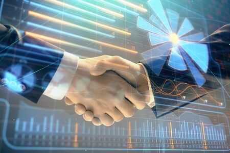 Multi exposure of business graph on abstract background with two men handshake. Concept of success Фото со стока - 129831720